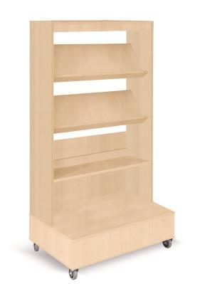 Foxis boekenkast enkelzijdig verrijdbaar B900 x D600 x H1660 mm - beuken