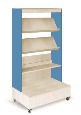 Foxis boekenkast enkelzijdig verrijdbaar B900 x D600 x H1660 mm - ahorn-oceaanblauw