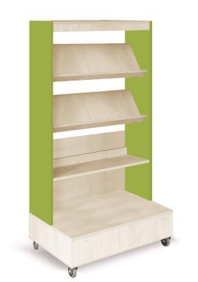Foxis boekenkast enkelzijdig verrijdbaar B900 x D600 x H1660 mm - ahorn-avocadogroen