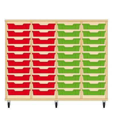 Storix Eigendomskast beuken 4 kol. 10 laden rood-rood-groen-groen
