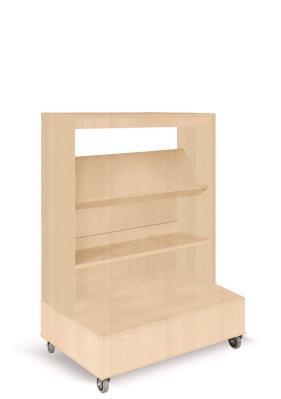 Foxis enkelzijdige boekenkast verrijdbaar - beuken - H1340 mm