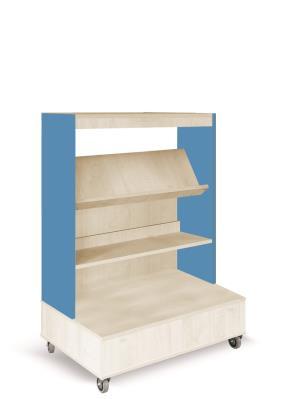 Foxis boekenkast enkelzijdig verrijdbaar B900 x D600 x H1340 mm - ahorn-oceaanblauw