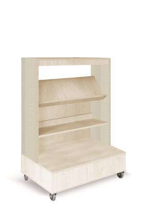 Foxis enkelzijdige boekenkast verrijdbaar - ahorn - H1340 mm