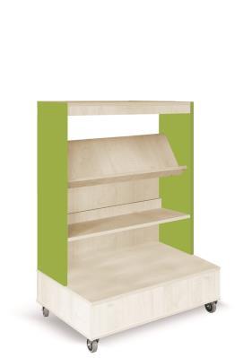 Foxis boekenkast enkelzijdig verrijdbaar B900 x D600 x H1340 mm - ahorn-avocadogroen
