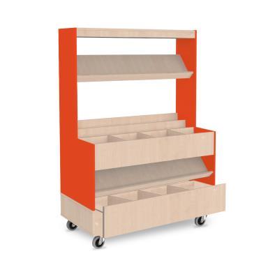 Foxis makkelijk lezen plein XL met lade B1200 x D600 x H1660 mm - ahorn-oranje