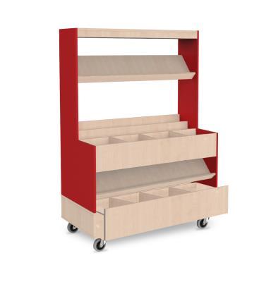 Foxis makkelijk lezen plein XL met lade B1200 x D600 x H1660 mm - beuken-rood