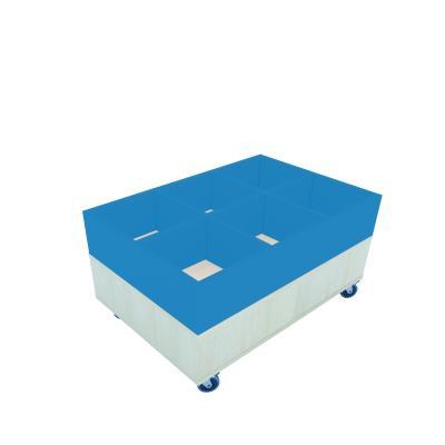 Foxis prentenboekenbak - 6 vakken B900 x D600 x H464 mm - ahorn-oceaanblauw