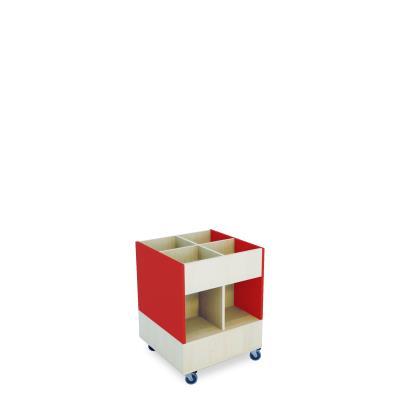 Foxis prentenboekenbak hoog B600 x D600 x H780 mm - ahorn-rood
