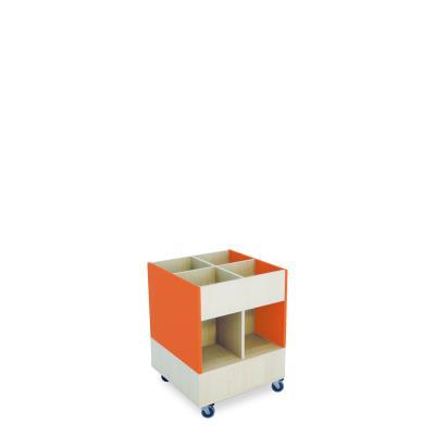 Foxis prentenboekenbak hoog B600 x D600 x H780 mm - ahorn-oranje