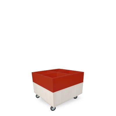 Foxis prentenboekenbak B600 x D600 x H464 mm - ahorn-rood
