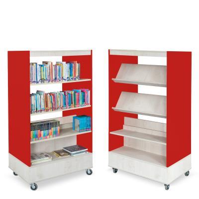 Foxis boekenkast dubbelzijdig B900 x D600 x H1660 mm - ahorn-rood