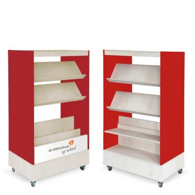 Foxis Browser Boekenkast Hybride Dubbelzijdig - rood-ahorn