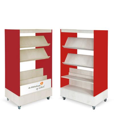 Foxis browser boekenkast hybride dubbelzijdig B900 x D600 x H1660 mm - ahorn-rood