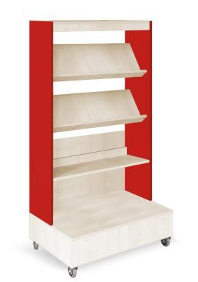 Foxis boekenkast enkelzijdig verrijdbaar B900 x D600 x H1660 mm - ahorn-rood