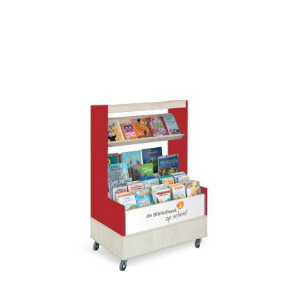 Foxis browser boekenkast enkelzijdig B900 x D600 x H1340 mm - ahorn-rood