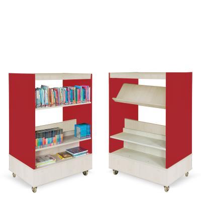 Foxis boekenkast dubbelzijdig B900 x D600 x H1340 mm - ahorn-rood