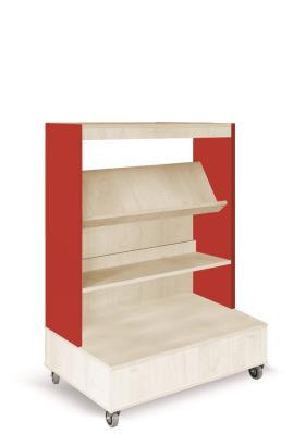 Foxis enkelzijdige boekenkast verrijdbaar - rood-ahorn - H1340 mm