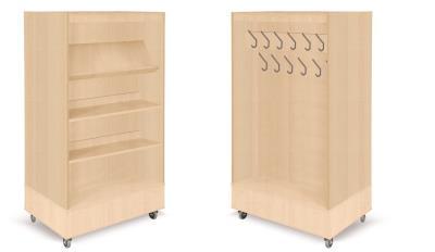 Foxis boekenkast met kapstok B900 x D600 x H1660 mm - beuken