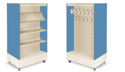 Foxis boekenkast met kapstok B900 x D600 x H1660 mm - ahorn-oceaanblauw