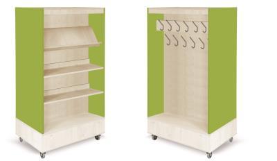 Foxis boekenkast met kapstok B900 x D600 x H1660 mm - ahorn-avocadogroen