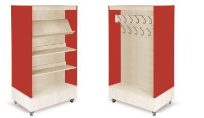 Foxis boekenkast met kapstok B900 x D600 x H1660 mm - ahorn-rood