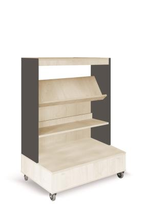 Foxis boekenkast enkelzijdig verrijdbaar B900 x D600 x H1340 mm - ahorn-antracietgrijs