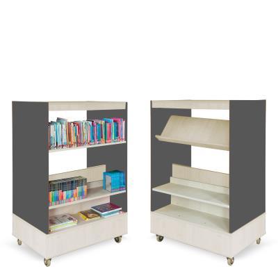 Foxis boekenkast dubbelzijdig B900 x D600 x H1340 mm - ahorn-antracietgrijs