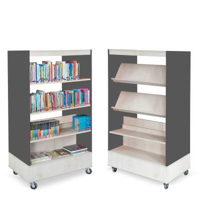 Foxis boekenkast dubbelzijdig B900 x D600 x H1660 mm - ahorn-antracietgrijs