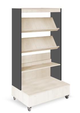Foxis boekenkast enkelzijdig verrijdbaar B900 x D600 x H1660 mm - ahorn-antracietgrijs