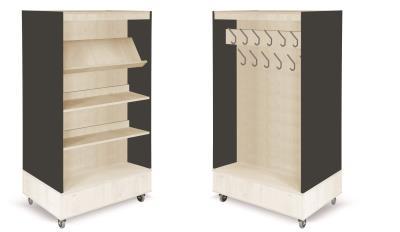 Foxis boekenkast met kapstok B900 x D600 x H1660 mm - ahorn-antracietgrijs