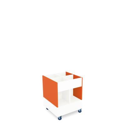 Foxis prentenboekenbak hoog B600 x D600 x H780 mm - wit-oranje