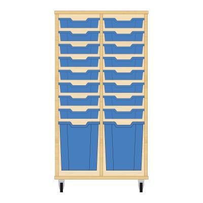 Storix Materiaalkast 51 beuken, B710xH1200xD465 - laden blauw