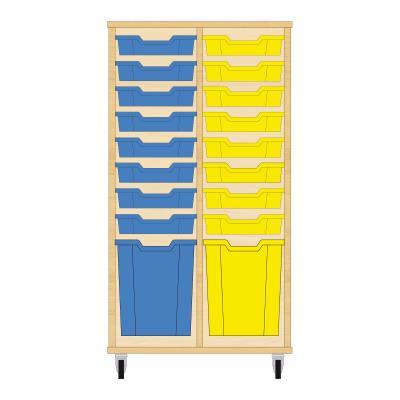 Storix Materiaalkast 51 beuken, B710xH1200xD465 - laden blauw-geel