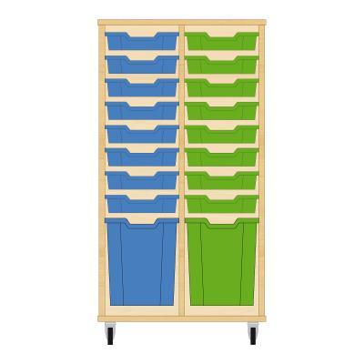 Storix Materiaalkast 51 beuken, B710xH1200xD465 - laden blauw-groen