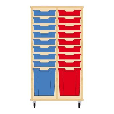 Storix Materiaalkast 51 beuken, B710xH1200xD465 - laden blauw-rood