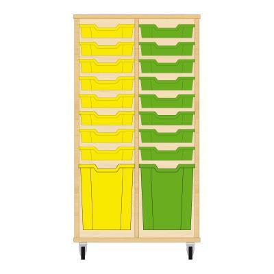 Storix Materiaalkast 51 beuken, B710xH1200xD465 - laden geel-groen