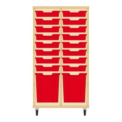 Storix Materiaalkast 51 beuken, B710xH1200xD465 - laden rood