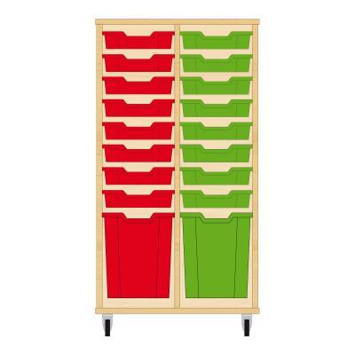 Storix Materiaalkast 51 beuken, B710xH1200xD465 - laden rood-groen