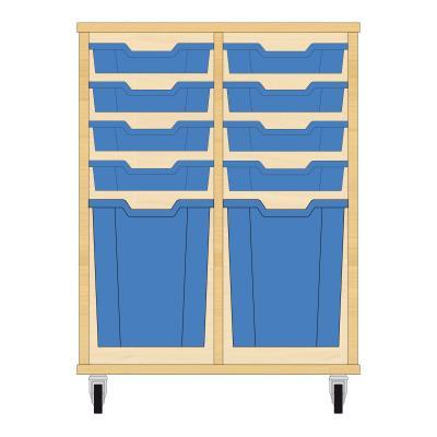Storix Materiaalkast 51 beuken, B710xH856xD465 - laden blauw