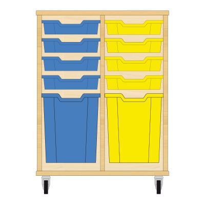Storix Materiaalkast 51 beuken, B710xH856xD465 - laden blauw-geel