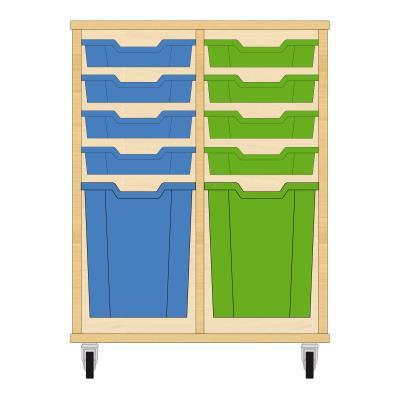 Storix Materiaalkast 51 beuken, B710xH856xD465 - laden blauw-groen