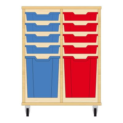 Storix Materiaalkast 51 beuken, B710xH856xD465 - laden blauw-rood