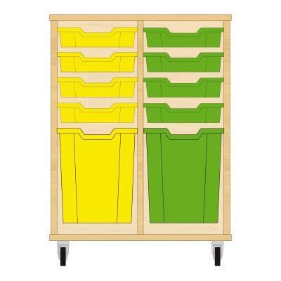 Storix Materiaalkast 51 beuken, B710xH856xD465 - laden geel-groen