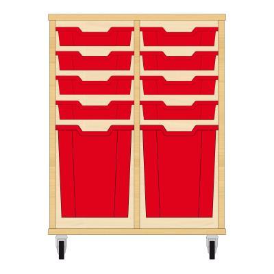 Storix Materiaalkast 51 beuken, B710xH856xD465 - laden rood
