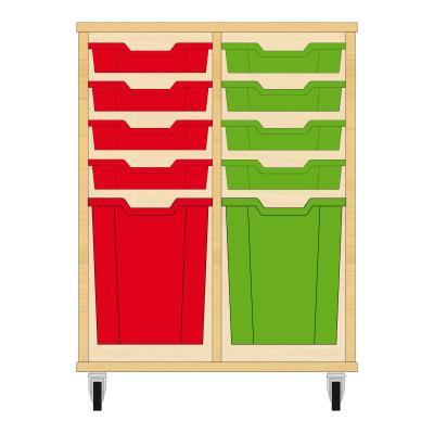 Storix Materiaalkast 51 beuken, B710xH856xD465 - laden rood-groen