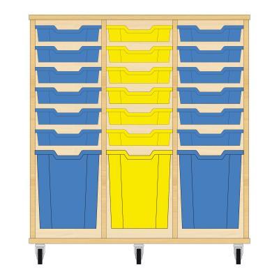 Storix Materiaalkast 51 beuken, B1050xH1028xD465 - laden blauw-geel-blauw