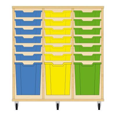 Storix Materiaalkast 51 beuken, B1050xH1028xD465 - laden blauw-geel-groen