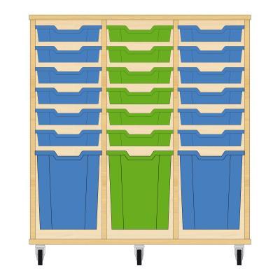 Storix Materiaalkast 51 beuken, B1050xH1028xD465 - laden blauw-groen-blauw