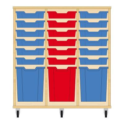 Storix Materiaalkast 51 beuken, B1050xH1028xD465 - laden blauw-rood-blauw