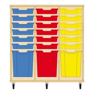 Storix Materiaalkast 51 beuken, B1050xH1028xD465 - laden blauw-rood-geel